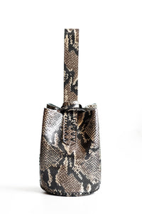 navigli bag | beige and black snake-embossed leather - Volta Atelier