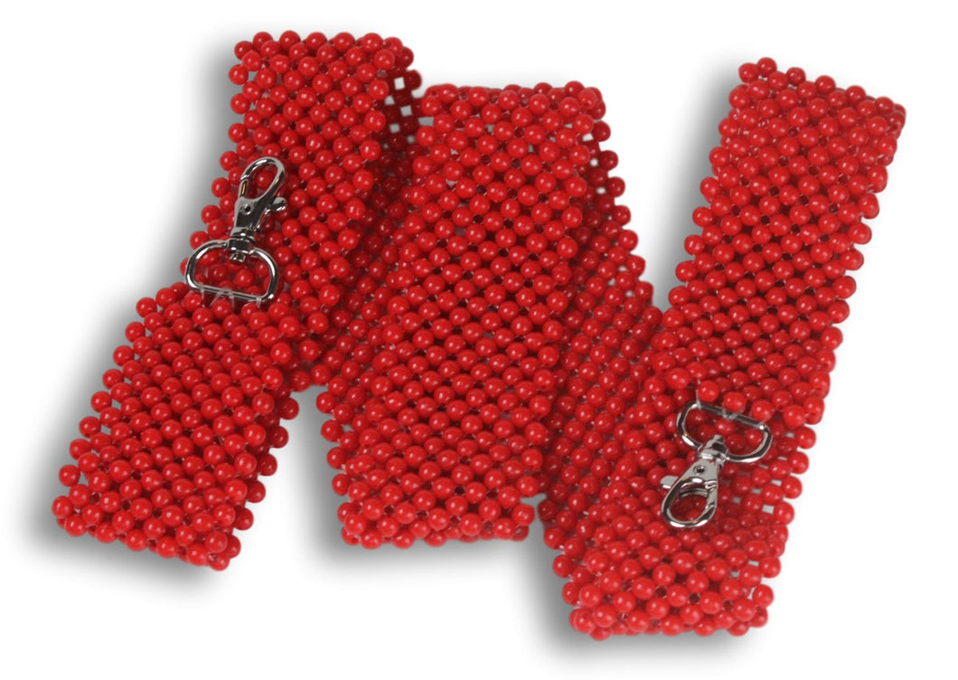 red hand-beaded strap