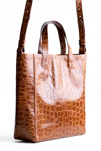 copacabana bag | brown crocco-embossed leather - Volta Atelier