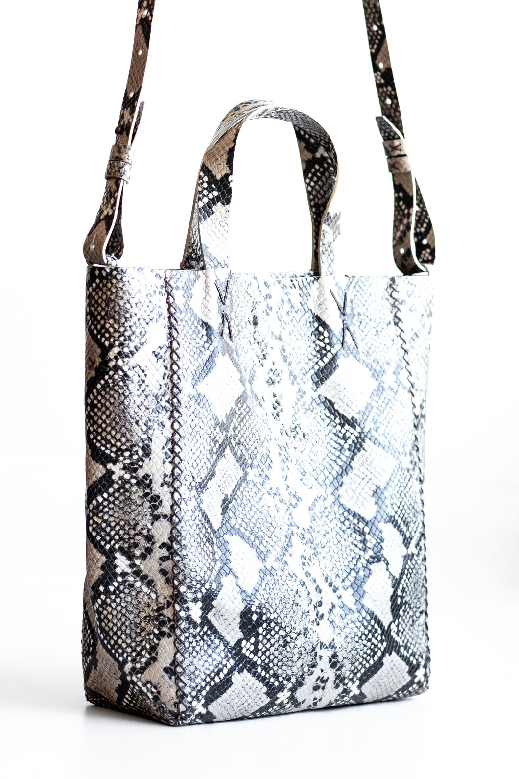 copacabana bag | black, brown, and beige snake-embossed leather - Volta Atelier