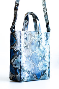 copacabana bag | blue beige snake-embossed leather - Volta Atelier