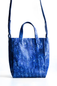 copacabana bag | blue snake-embossed leather - Volta Atelier