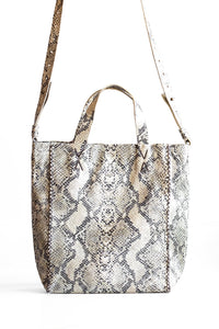 copacabana bag | beige snake-embossed leather - Volta Atelier