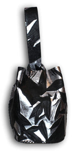 navigli bag | black and silver wrinkled leather