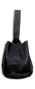 navigli bag | black snake-embossed leather
