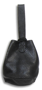 navigli bag | black snake-embossed leather - Volta Atelier