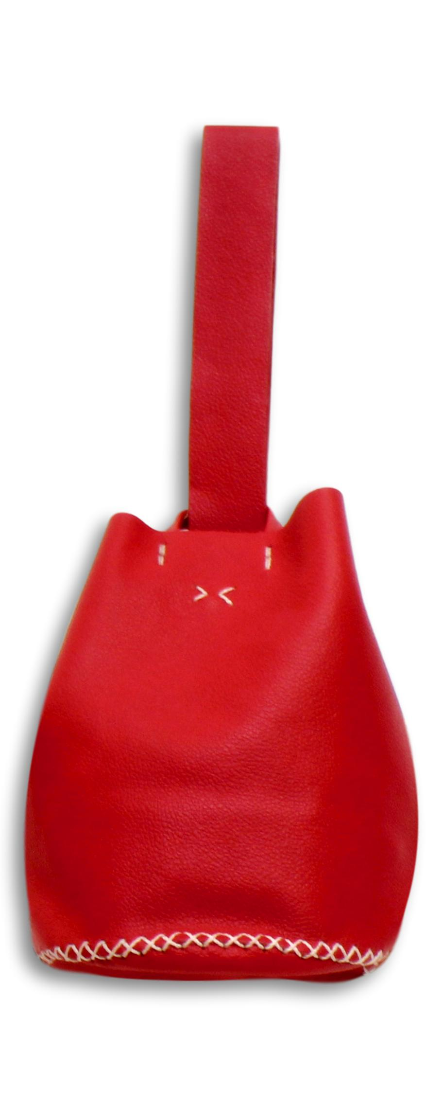 navigli bag | red leather with white stitches