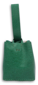soho small bag | green lezard-embossed leather