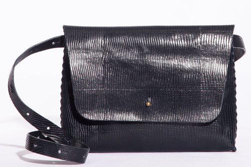 lapa bag | black stingray-print leather