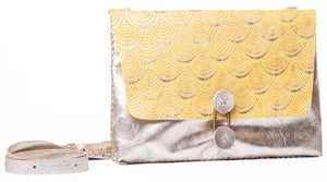 marais small bag | yellow deco-print leather