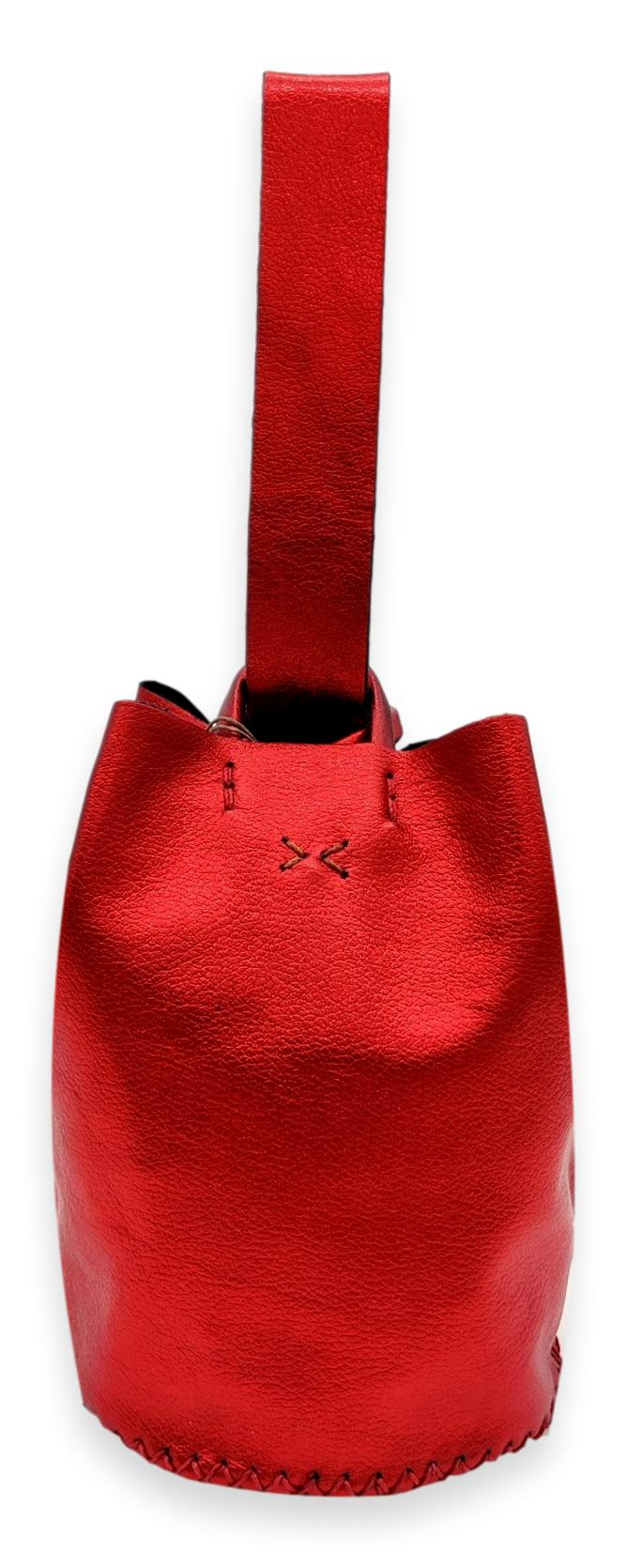 navigli bag | metallic red leather