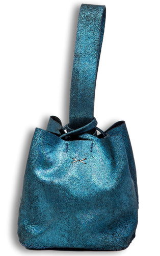 soho bag | green glitter leather