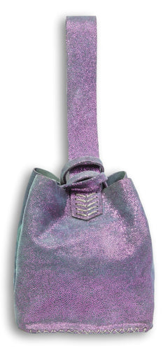 soho bag | mettallic purple dots leather