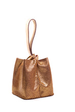 soho bag | snake-print golden leather