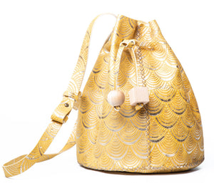 chelsea bag | yellow and gold deco-print leather