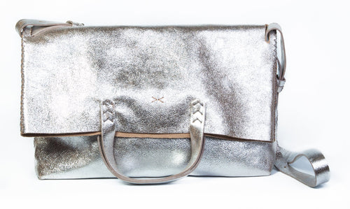 vila large | silver soft leather