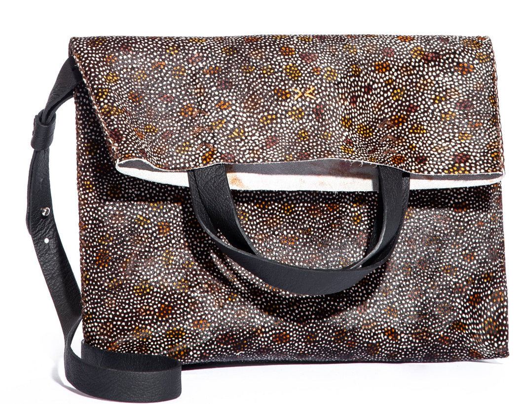 vila medium | floral granulated print leather