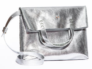 vila medium | silver raffia-print leather - Volta Atelier
