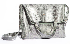vila medium | silver snake-print leather