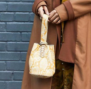 navigli bag | burnt yellow snake-embossed leather
