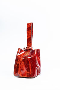soho bag | red marble vinyl leather