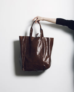 ipanema bag | brown crocco-embossed leather - Volta Atelier