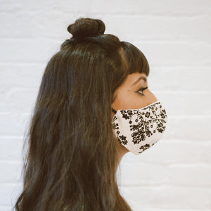 face mask | black and white floral double cotton