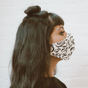 face mask | black and white arabesques double cotton