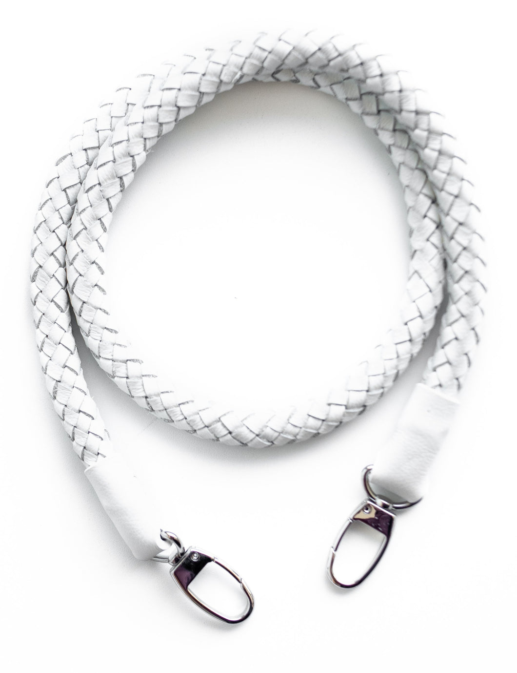 hand-braided leather strap - white - Volta Atelier