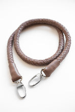 brown hand-braided leather strap