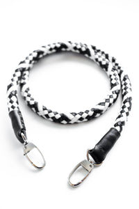 hand-braided leather strap - black and white - Volta Atelier