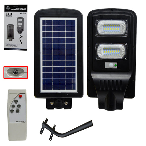 FOCO LED:STREET:EL-1926 40W LED STREET LIGHT WITH SOLAR PANEL