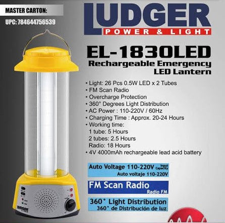 LINTERNA LED CON RADIO EL-1830