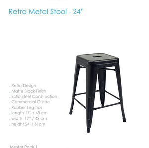 "Stool de 24"" en Metal color Negro Retro"