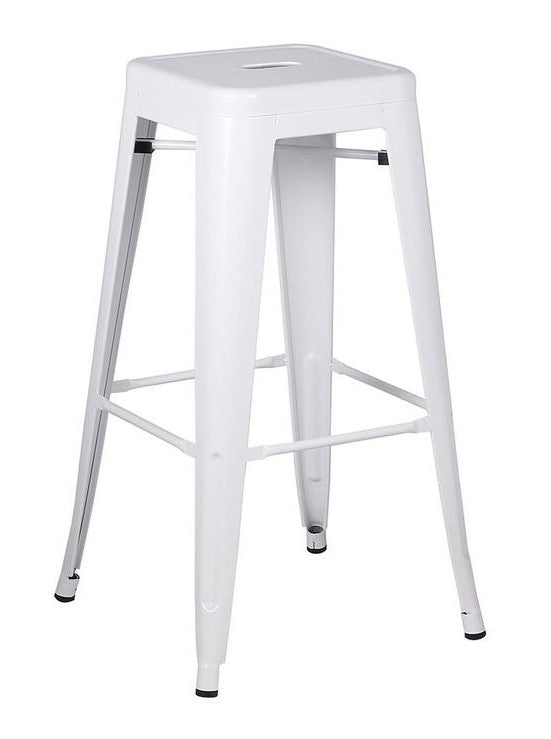 Stool de metal color blanco mate estilo retro