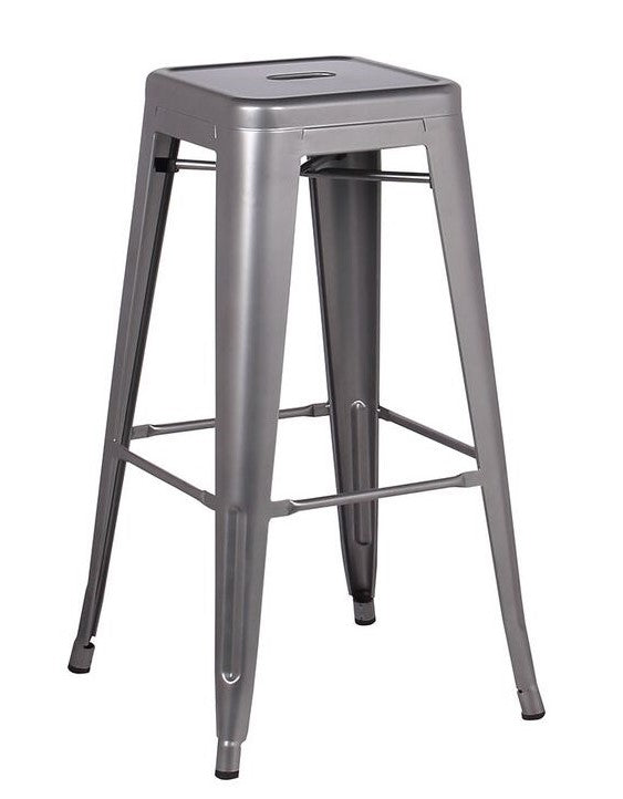 Stool de metal color metal gris mate estilo retro