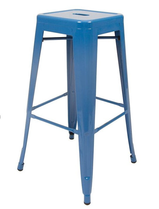 Stool de metal retro color azul