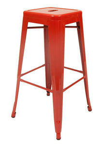 Stool de metal retro color rojo