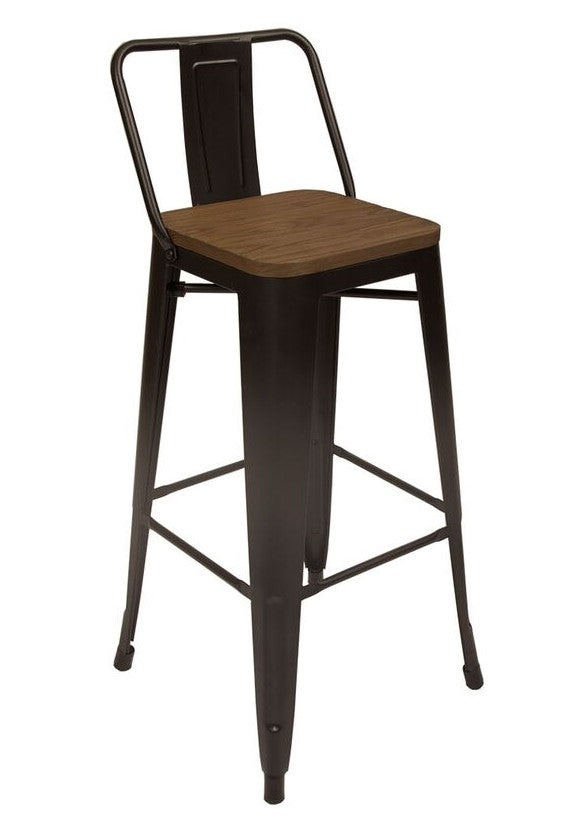 Stool en metal retro color marron con espaldar