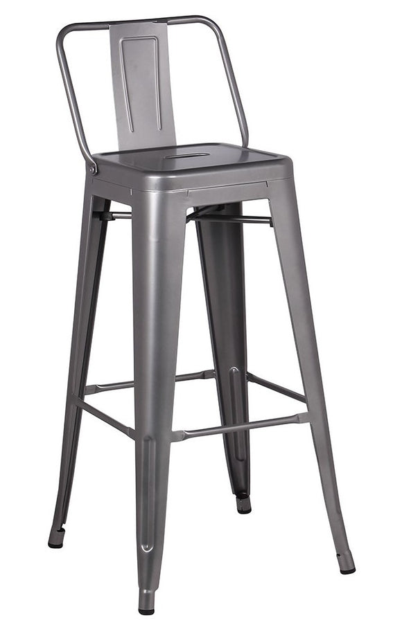 Stool en metal retro con espaldar color metal