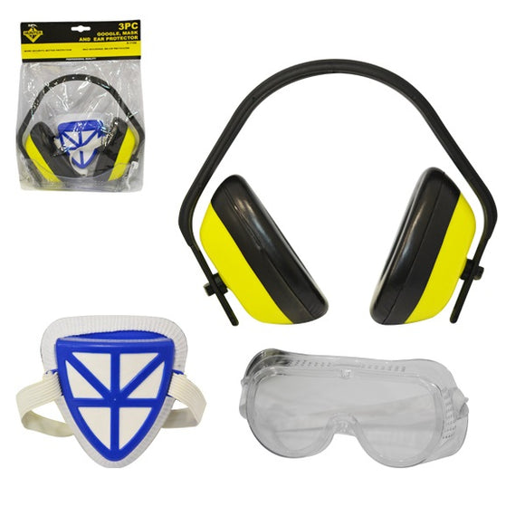 SAFE:S-1106 3 PIECES GOGGLE, MASK AND EAR PROTECTOR