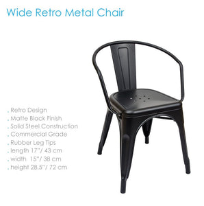 Silla Retro Wide en Metal Negro