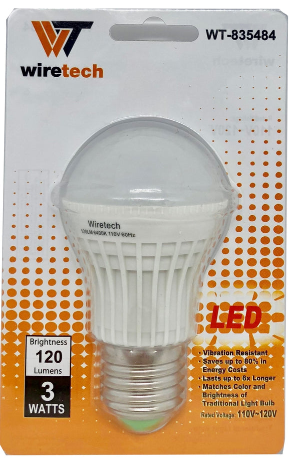 WT-835484 Bombilla LED 3W=25W White Light (TS-LA03W)120 Lumens/6500K