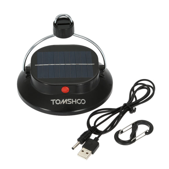 TOMSHOO 200LM 12LED 3 Mode Outdoor Indoor Portable Camping Lamp Tent Campsite Hanging Lamp Rechargeable Battery (Powered by Solar Panel and USB Charging)(Emergency Charger for Phone)