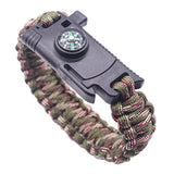 Multifunctional Paracord Survival Bracelet Outdoor Survival Bracelet 6 In 1 Travel Kit Fishing Line Hooks Compass Fire Starter For Hiking Camping (Black)