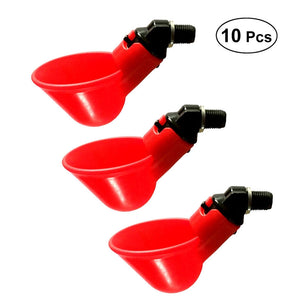 10 PCS Automatic Chicken Quail Pigeon Drinker Drinking Water Poultry Drinking Water Bowl Farm Farming Equipment (Red)