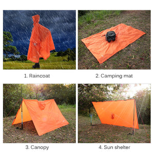 TOMSHOO Multifunctional Lightweight Raincoat with Hood Hiking Cycling Rain Cover Poncho Rain Coat Outdoor Camping Tent Mat