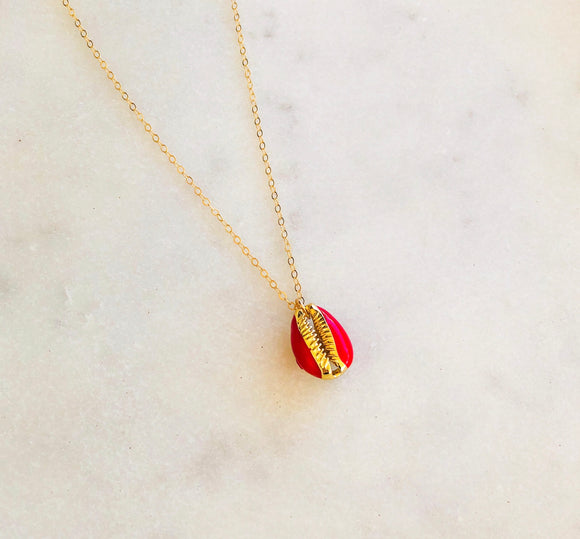 Red Sunkissed Shell Necklace