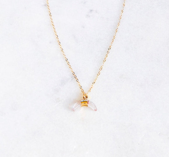 Crystal Clear Horn Necklace