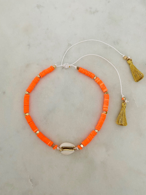 Orange Neon Hope Choker| Short Necklace